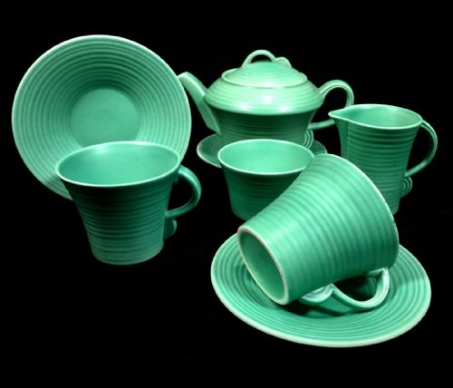 Antique Art Deco Pottery Tea Set for 2 / Turquoise / Green / Tea Pot / Cup